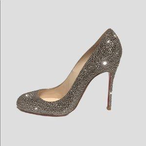 Christian Louboutin Gold Rhinestone Heels, Size 7